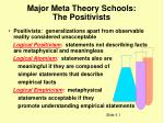 major meta theory schools the positivists