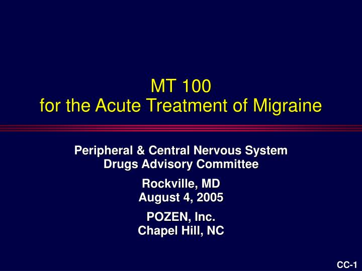mt 100 for the acute treatment of migraine n.