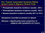 the typical associated symptom rating system used in migraine clinical trials