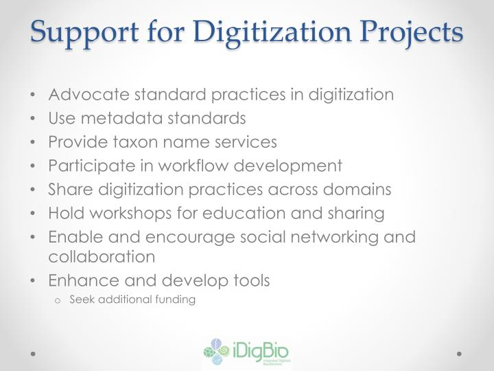 Support for Digitization Projects