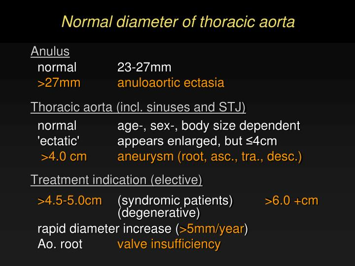 Normal diameter of thoracic aorta