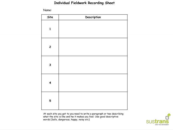 Individual Fieldwork Recording Sheet