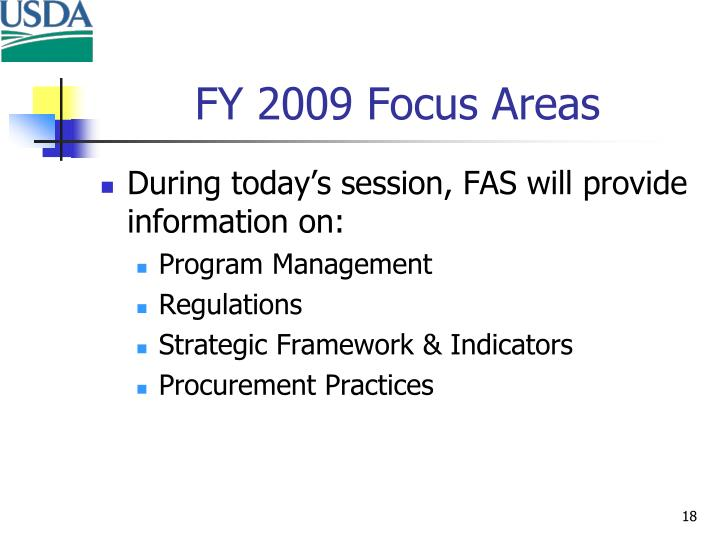 FY 2009 Focus Areas
