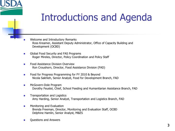 Introductions and agenda