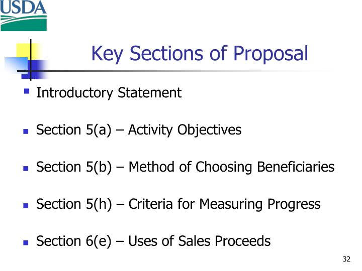 Key Sections of Proposal