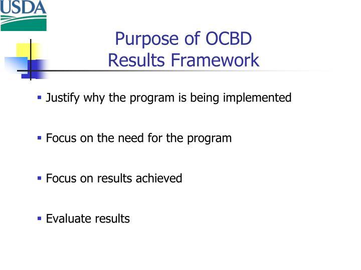 Purpose of OCBD