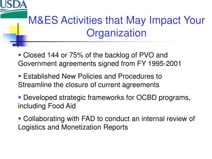 M&ES Activities that May Impact Your Organization