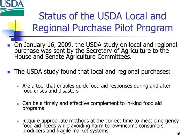 Status of the USDA Local and Regional Purchase Pilot Program