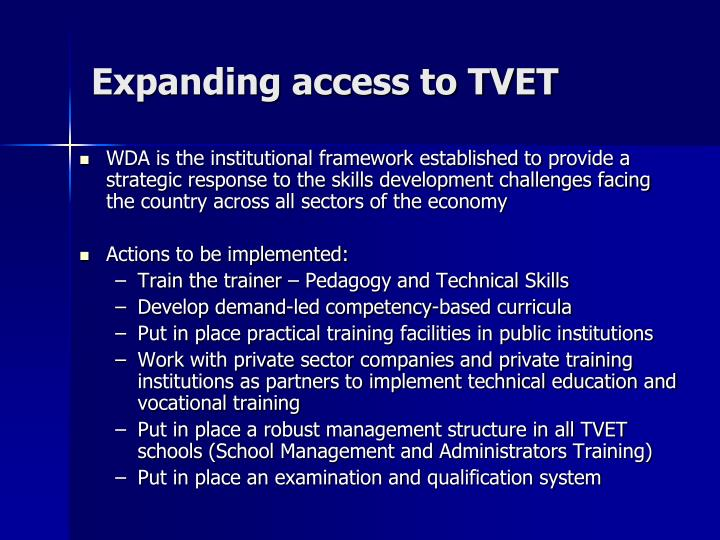 Expanding access to TVET