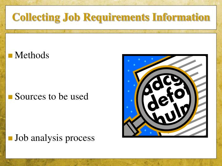 Collecting Job Requirements Information