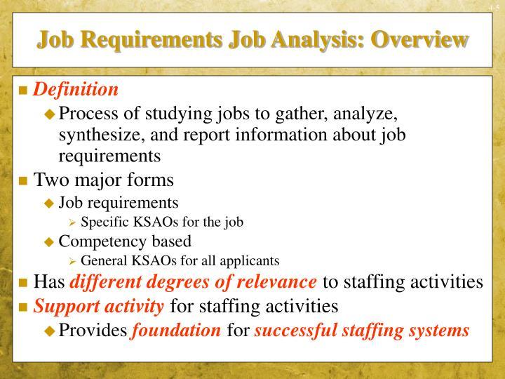 Job Requirements Job Analysis: Overview
