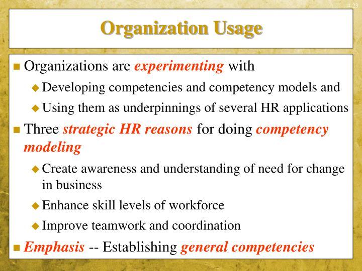Organization Usage