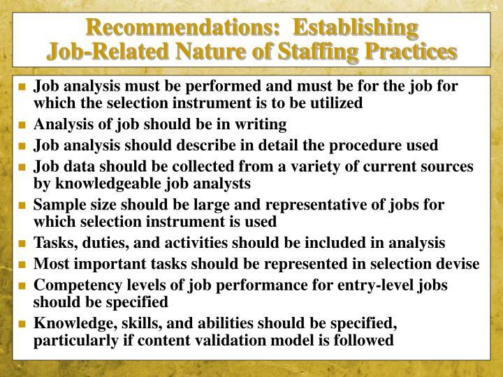 Recommendations:  Establishing