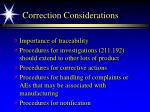 correction considerations