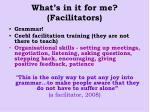 what s in it for me facilitators