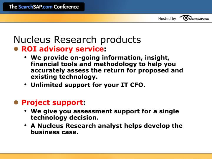 Nucleus Research products