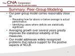 summary peer group modeling