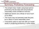 summary proficiency forecasting
