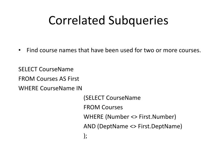 Correlated Subqueries