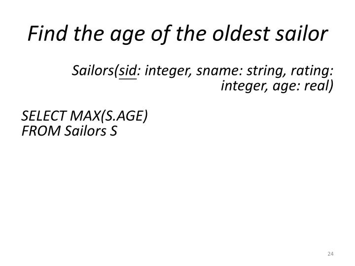 Find the age of the oldest sailor