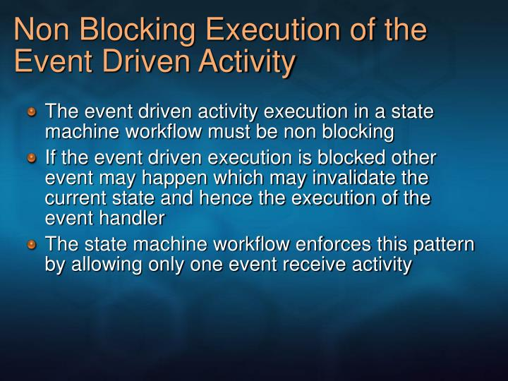 Non Blocking Execution of the Event Driven Activity