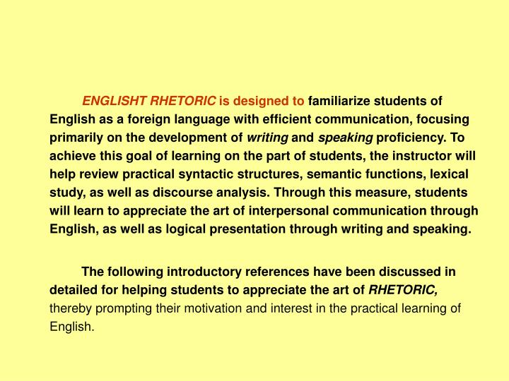 ENGLISHT RHETORIC