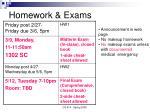 homework exams