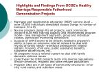highlights and findings from ocse s healthy marriage responsible fatherhood demonstration projects