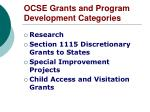 ocse grants and program development categories