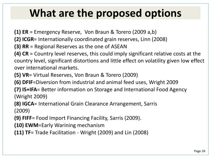 What are the proposed options