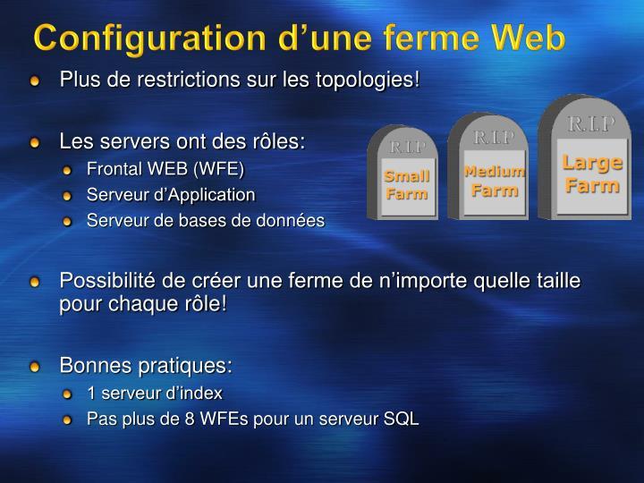 Configuration d'une ferme Web