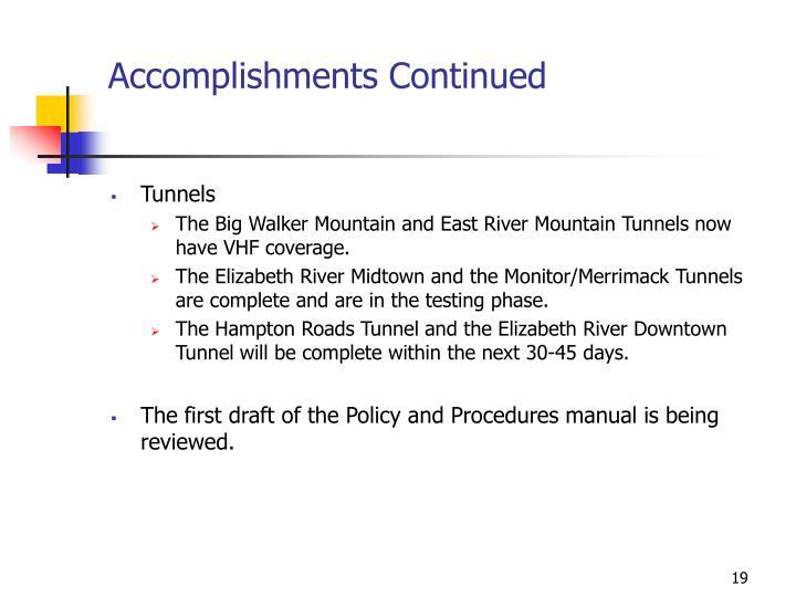 Accomplishments Continued