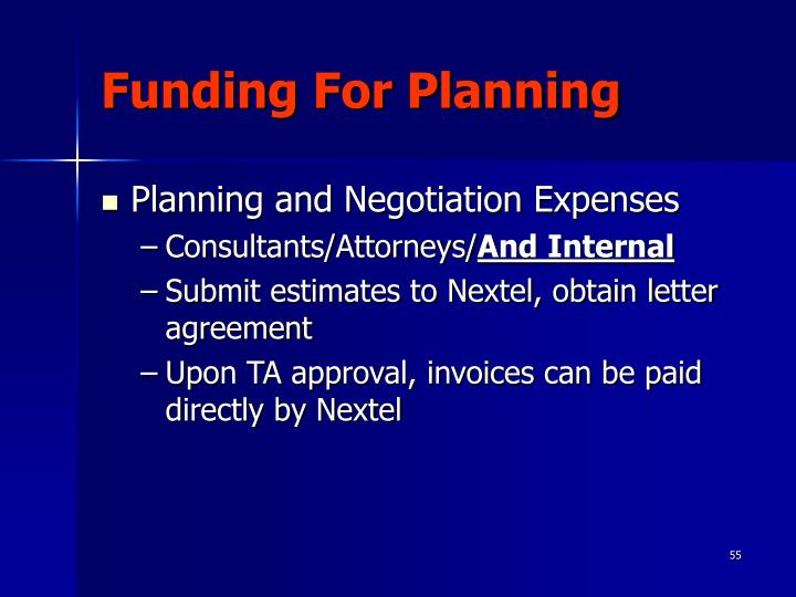 Funding For Planning