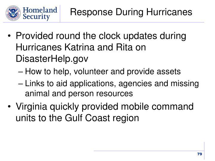 Response During Hurricanes