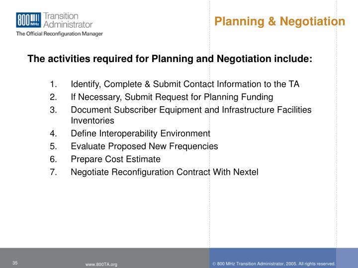 Planning & Negotiation