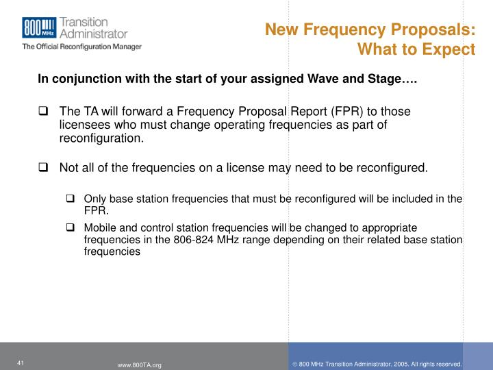New Frequency Proposals: