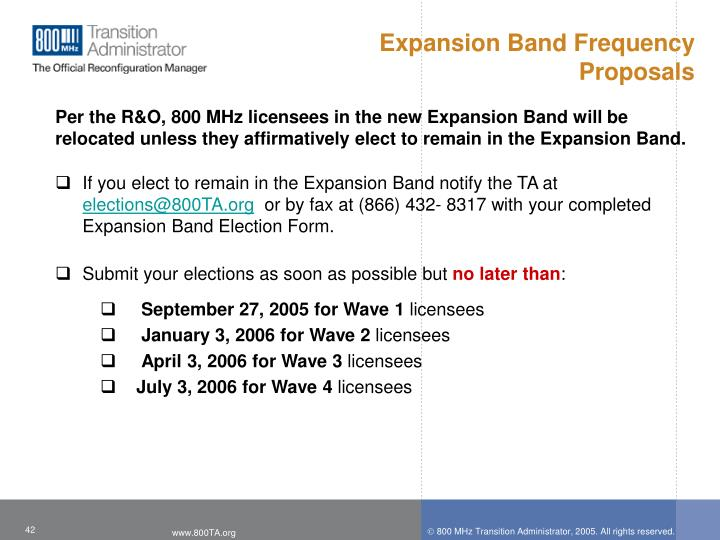 Expansion Band Frequency Proposals