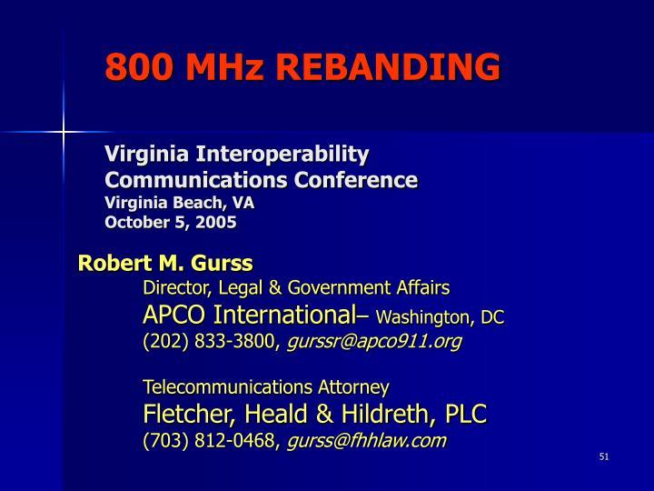 800 MHz REBANDING