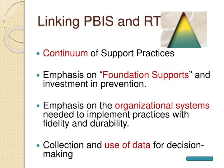 Linking PBIS and RTI