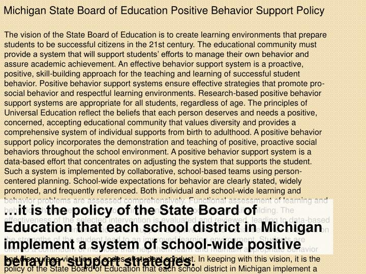 Michigan State Board of Education Positive Behavior Support Policy
