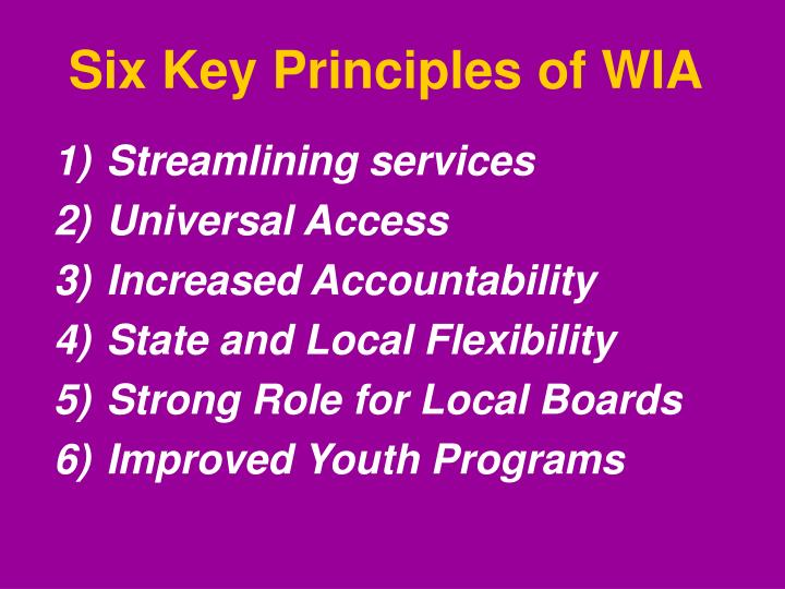 Six Key Principles of WIA