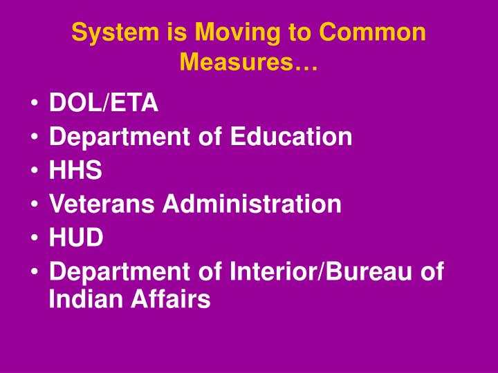 System is Moving to Common Measures…