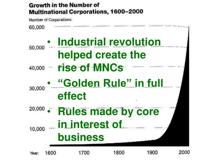 Industrial revolution helped create the rise of MNCs