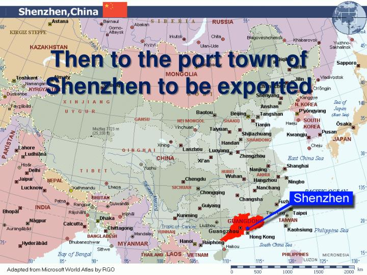 Then to the port town of Shenzhen to be exported