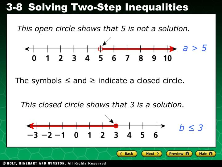 This open circle shows that 5 is not a solution.