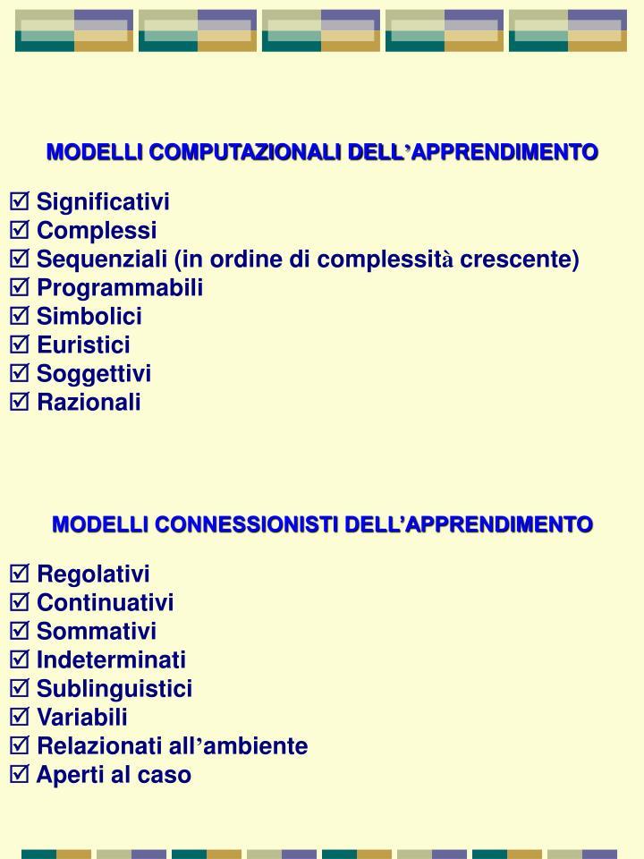 MODELLI COMPUTAZIONALI DELL