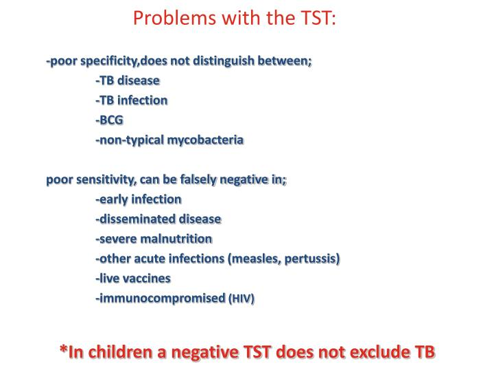 Problems with the TST:
