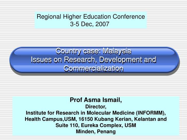 country case malaysia issues on research development and commercialization n.