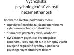 v chodisk psychologick s vislosti nezamestnanosti