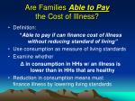 are families able to pay the cost of illness